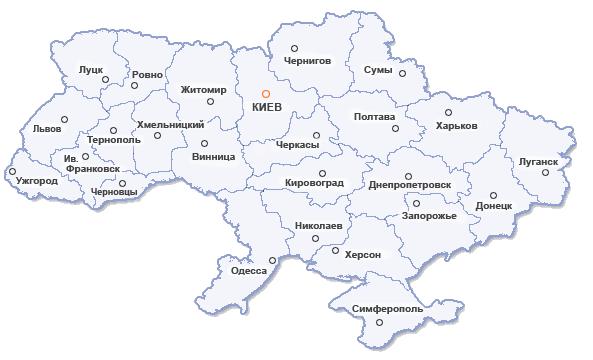 Карта Украины для оптовых покупателей церковной утвари